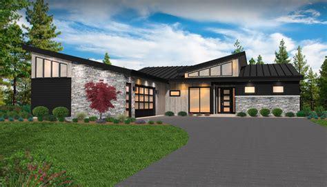 andrew house plan modern shed roof home design  car garage