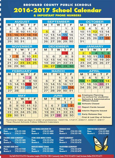 Calendar School Broward County School Calendar 2014 Monthly Calendar 2017