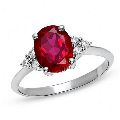 oval lab created ruby engagement ring with accents in 10k white gold ruby july