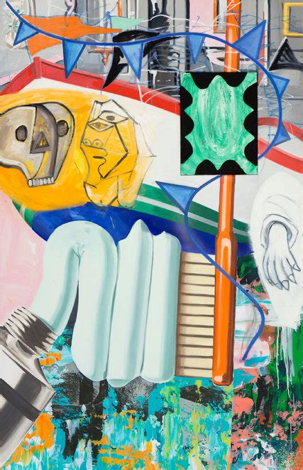 review david salle paintings deliver colliding culture  skarstedt gallery   york times