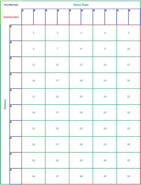 printable  square football pool sheet super bowl block