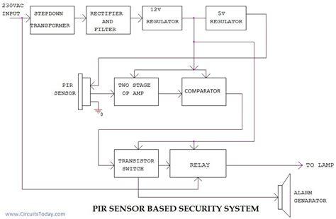 pir sensor based security system circuit diagram working applications