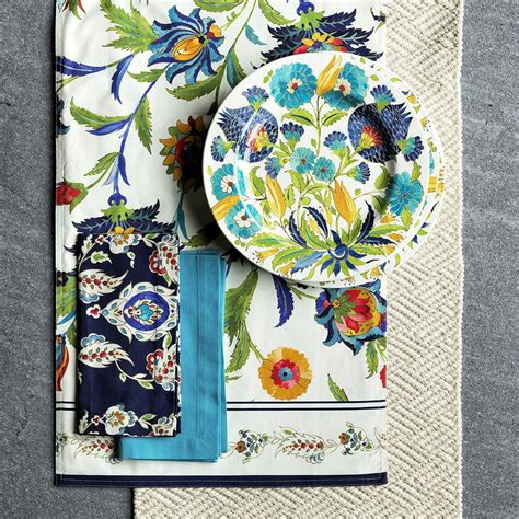 iznik tile outdoor melamine dinner plate blue green floral williams sonoma au