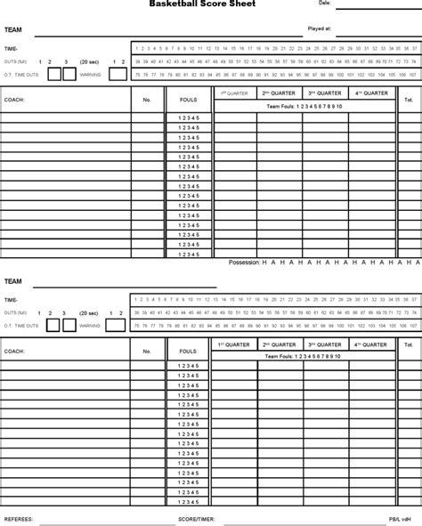 basketball score sheet 2019