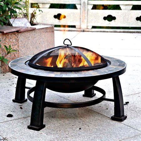 """Dover 30"""" Round Slate Fire Pit Table Walmartcom"""