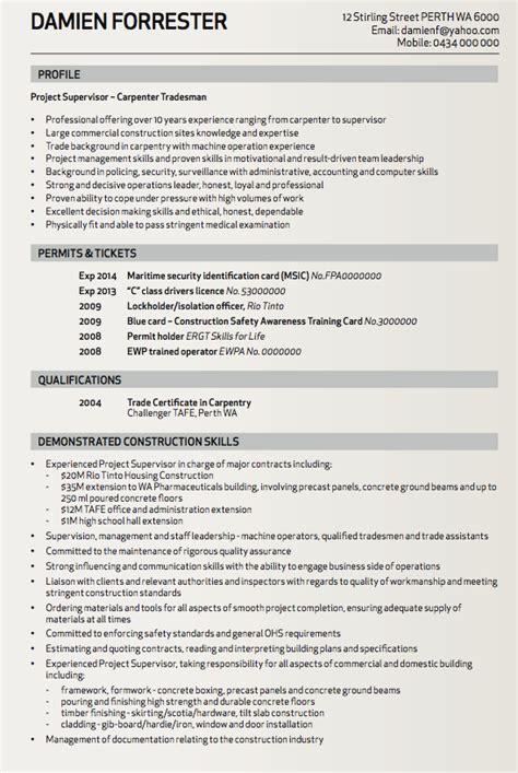 resume template tradesman carpenter tradesman resume sle http resumesdesign
