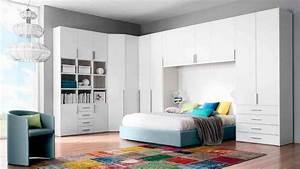 Dressing Autour Du Lit : des placards de rangement autour du lit placard blanc ~ Premium-room.com Idées de Décoration