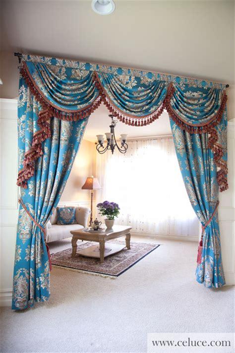 blue lantern swag valance curtain set traditional