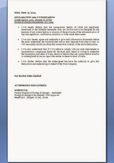 declaration  undertaking letter format