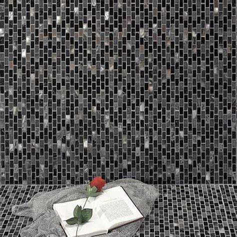 Buy Black Marble, Pearl & Chrome Mosaic Tiles in Sheets