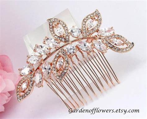 Rose Gold Bridal Hair Piece Bridal Rhinestone Comb