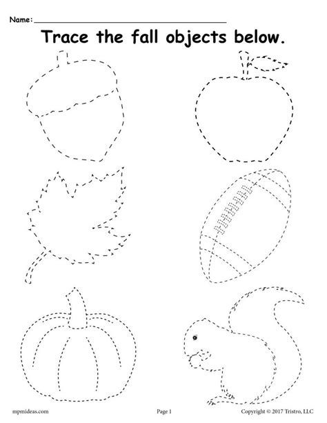 Free Printable Fall Tracing Worksheet! Supplyme