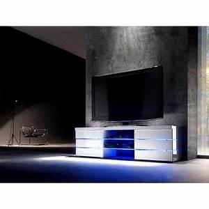 Meuble Tv Led Blanc Laqué : meuble tv led blanc laqu logan 150 cm achat vente meuble tv meuble tv led blanc laqu ~ Teatrodelosmanantiales.com Idées de Décoration