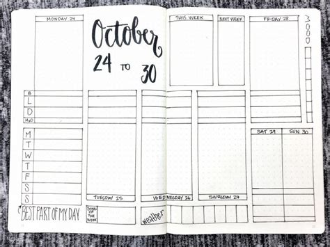 bullet journal template bullet journal weekly spread october 24 30 2016 templates available at bulleteverything