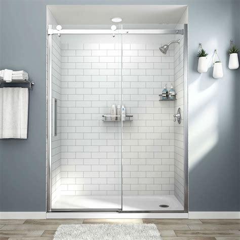 passage custom   shower walls  subway tile