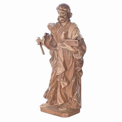 Joseph Worker Statue Saint Patinated Valgardena Woo
