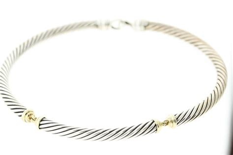 david yurman sterling  gold crossover cable choker
