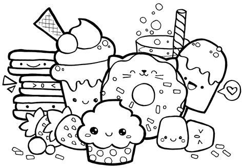 kawaii food doodle  printable coloring page