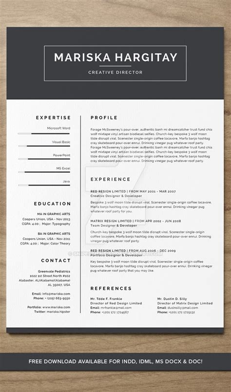 Resume Indd high end free resume cv for word indd by snipescientist