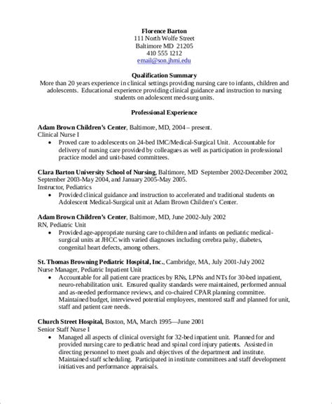 Experienced Rn Resume by Sle Nursing Resume 10 Exles In Word Pdf