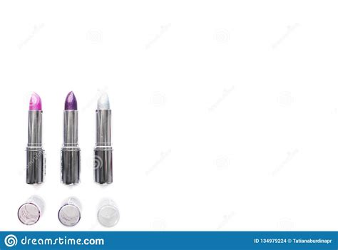 Realistic glossy front view cosmetic cream tube and opened cream jar packaging mockup. Three Open Silver Metallic Tubes Of Lipstick Pink Purple ...