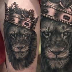 Lion with Crown Tattoos for Men