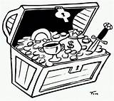 Treasure Chest Coloring Printable Cartoon Popular Library Clip sketch template