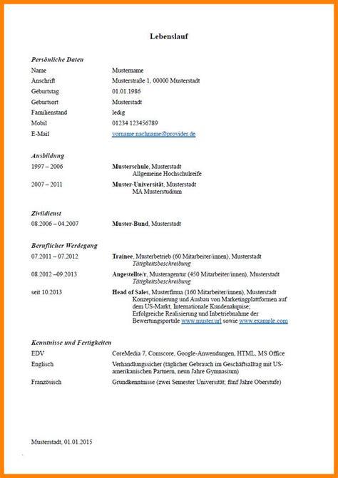 Vordruck Tabellarischer Lebenslauf by 7 Lebenslauf Muster F 252 Hrerschein O2 Hell