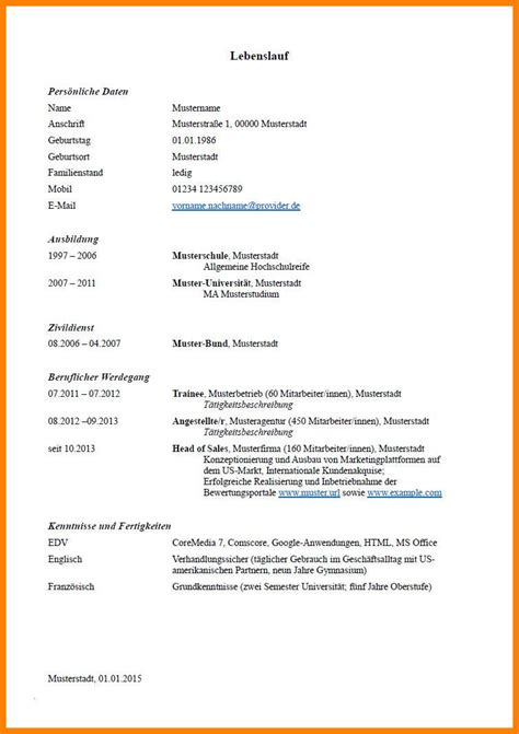 Muster Lebenslauf by 7 Lebenslauf Muster F 252 Hrerschein O2 Hell