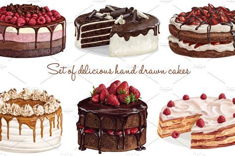 dolce vita delicious cakes illustrations creative market