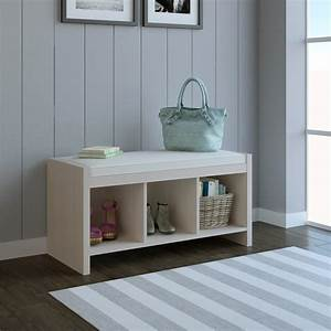 Ameriwood, Home, Collingwood, Entryway, Storage, Bench, With, Cushion, Ivory, Pine
