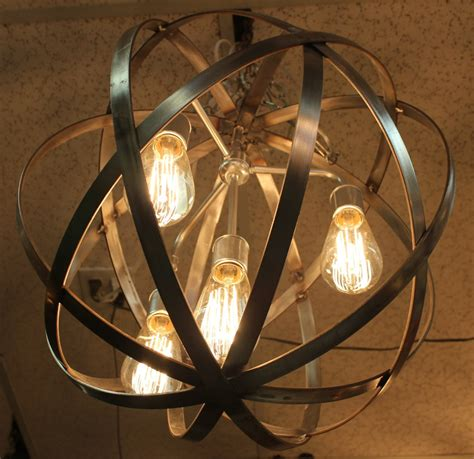 Orb Light Chandelier by Orb Chandelier Industrial Sphere Stainless Steel Polished