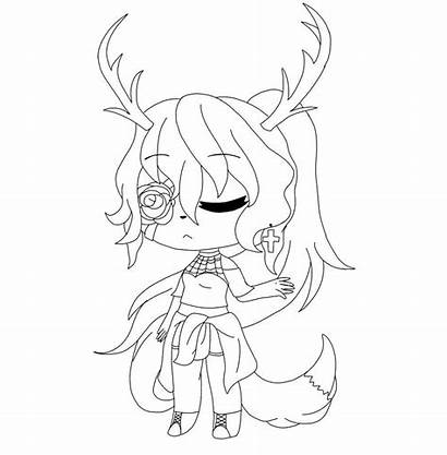 Gacha Coloring Pages Characters Anime Wolf Printable