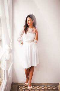 Short wedding dress with sleeves lace wedding reception for Short white wedding dress with sleeves
