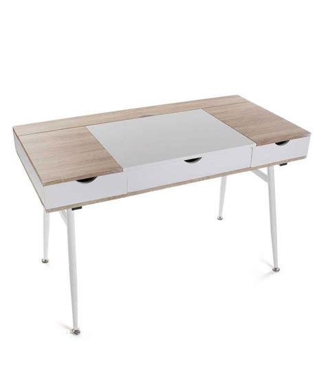 bureau pratique et design bureau design bois et métal blanc avec multiples rangements