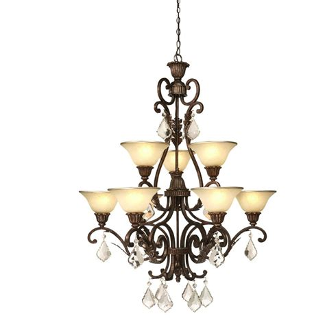 bronze chandelier with accents shop artcraft lighting florence 9 light bronze