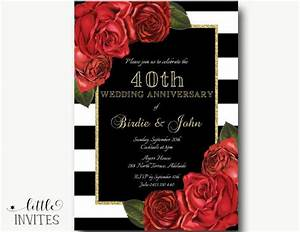 11 best anniversary images on pinterest 40th wedding With black and white wedding anniversary invitations