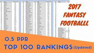 Top 100 Rankings (0.5 PPR) - 2017 Fantasy Football - YouTube