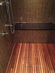Minimalist bathroom with shower mat teak bath bench teak for Teak tiles bathroom