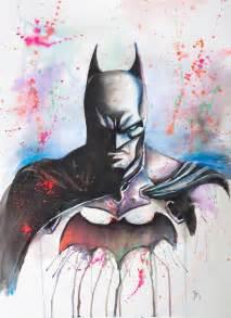 batman watercolor print  splattergeekcom ideen