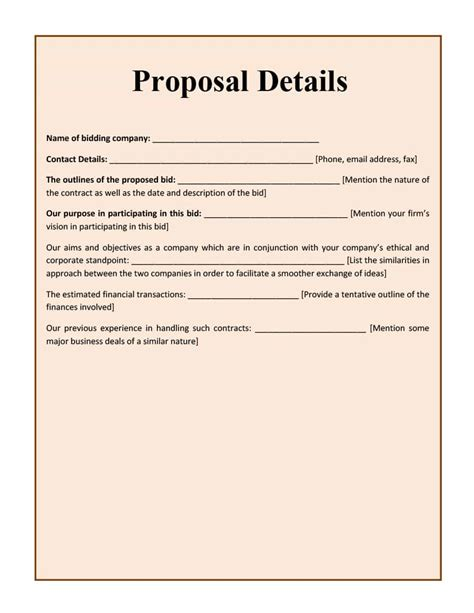 bid proposal templates   templates study