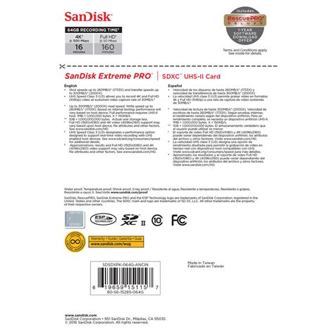 90 mb/s, min write speed: SanDisk 64GB Extreme PRO UHS-II SDXC Memory Card - CameraLK