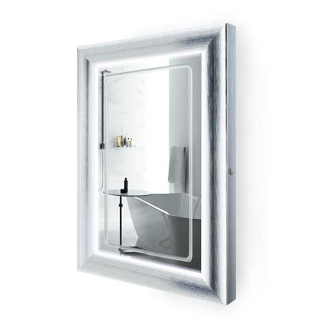 24 Bathroom Mirror by Led Lighted 24 Inch X 36 Inch Bathroom Silver Frame Mirror