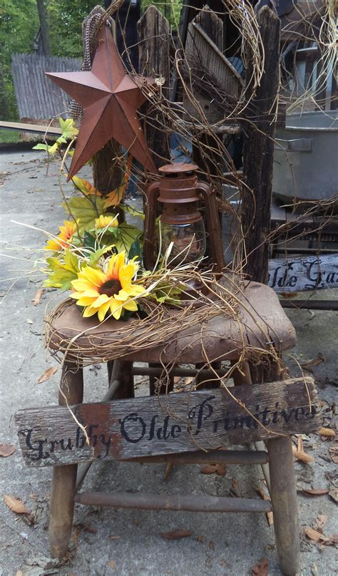 Old Chair With Grapevine Star Fall Lantern Rustic