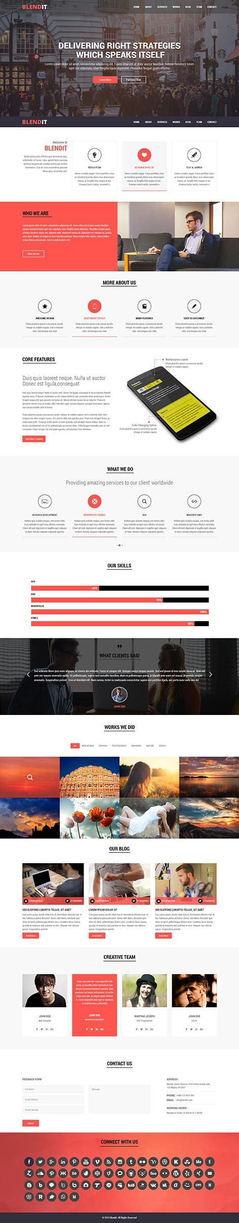 One Page Theme Blendit One Page Theme For One Page Websites