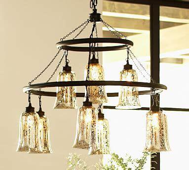 mercury glass chandeliers brantley antique mercury glass chandelier pottery barn