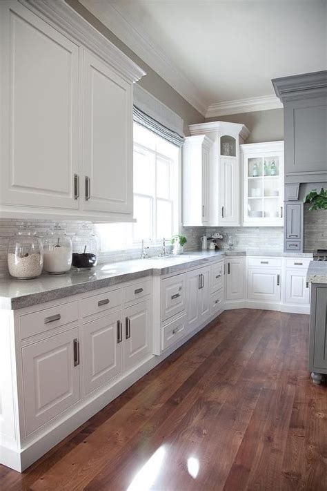 white and grey kitchen ideas this is beautiful the corner cabinet as well gray