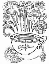 Coloring Coffee Pages Printable Complex Adult Theme Colouring Adults Printables Sheets Books Cup Momsandcrafters Cups Mug Fun Crafts Detailed Advanced sketch template