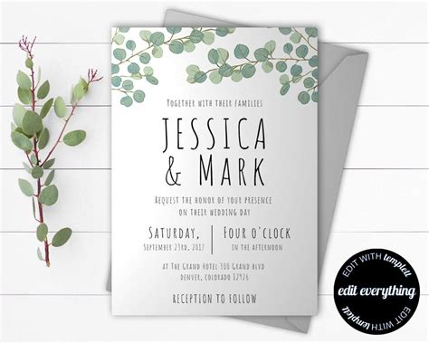 eucalyptus greenery wedding invitation template