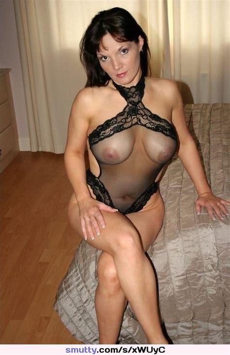 Brunette Sheer Black Lace Lingerie Teddy Cleavage